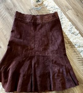 CAbi Brown Leather Suede Skirt Midi Scallop Flare